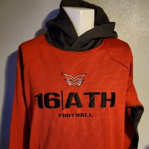 16 ATH Red & Grey Football Hoodie Size Large